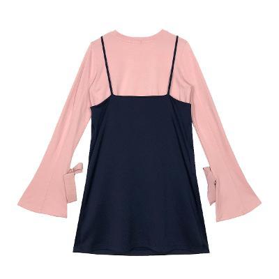 ribbon sleeve t-shirt pink & button bustier dress navy